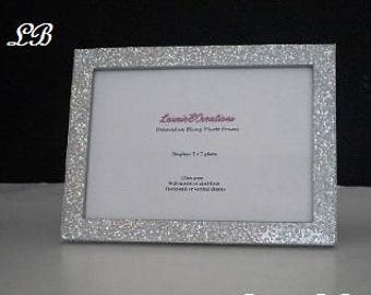 SILVER GLITTER Picture Frame - Decorative, Super Sparkling Octagon/Prisma Glitter-for 4 x 6 or 5 x 7 photos or info