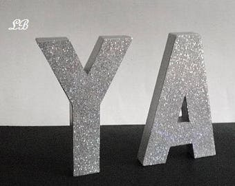 "SILVER GLITTER LETTERS- Personalized Standup or Wall Letters, Super Sparkling Octagon/Prisma Glitter- 8"" or 12"" Initials,Names,Words in A-Z"