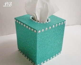 GLITTER & BLING Tissue Box Cover-Sparkling Fine Glitter-Turquoise/Teal or choose from variety of glitter colors w/ Clear Rhinestones