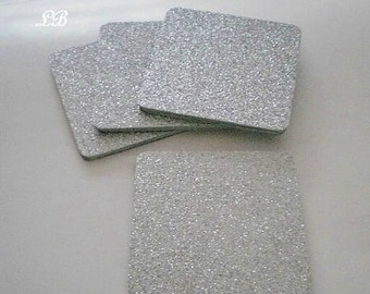 """SILVER GLITTER COASTERS - Large Square Drink Coasters in Sparkling Fine Silver Glitter - Set of four - 4"""" x 4"""""""