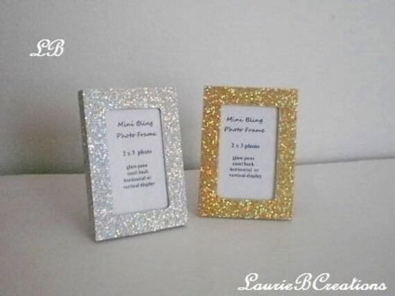 MINI GLITTER FRAME Silver or Gold Glitter Picture Frames for