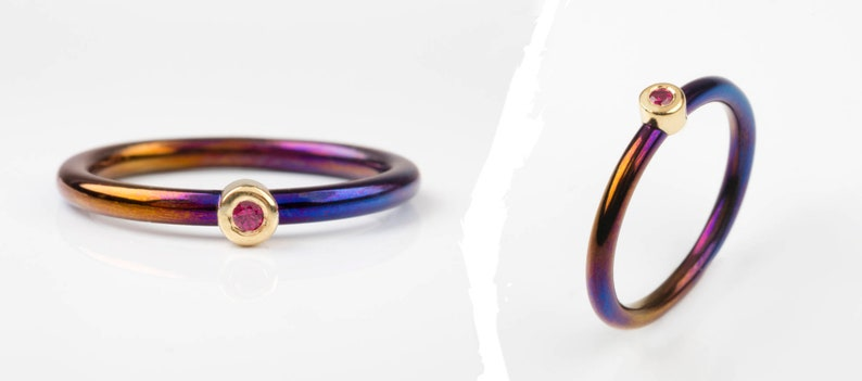minimal band ring hypoallergenic tiny ring ruby stone thin band jewelry dark color Yellow GOLD and Titanium band July birthstone ring