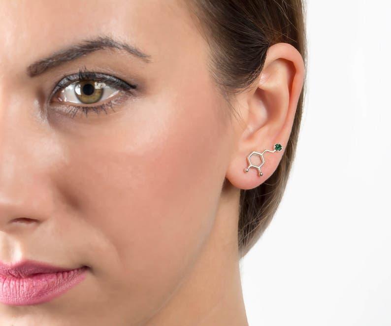 green stone ear cuffs gemstone jewelry silver earrings birthstone back to school gift gem earrings emerald Chemistry earrings Dopamine