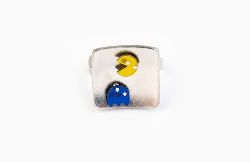 arcade game jewelry old school video game Pac Man ring nerd gift for geek gamer jewelry game retro gift geekery jewelry Pac Man Ghost