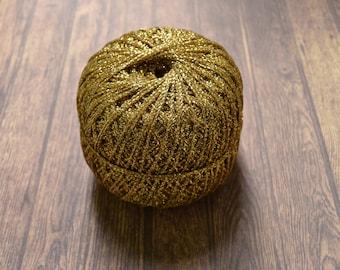 Glitter yarn, sparkle yarn, crochet yarn, embroidery thread UK, gold 350m 100g