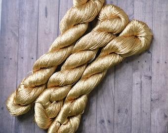 Vegan Silk yarn 500m 100g, Superfine Lace weight, shawl yarn, crochet yarn, embroidery thread, golden thread, gold
