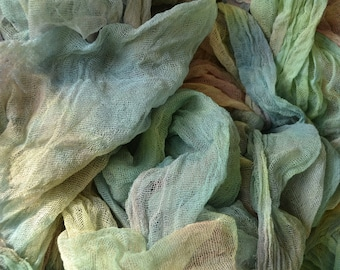 Handdyed cotton scrim, cheesecloth, Nuno Felting, Mixed Media, Creative Embroidery, Embellishments