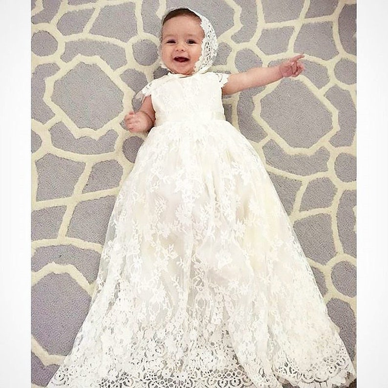 8e785021485d Sierra baby girl Lace long heirloom ivory couture christening