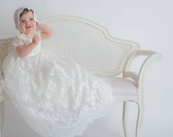 Sierra baby girl Lace long heirloom ivory couture christening baptism communal gown flower girl dress with cap sleeves scallop hem tulle