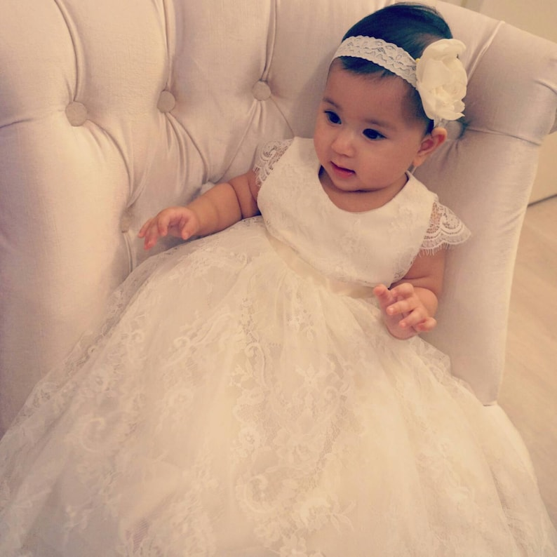fd42a3806cbc7 Elmira baby girl Lace long heirloom ivory christening baptism communal gown  dress with cap sleeves and scallop hem and tulle
