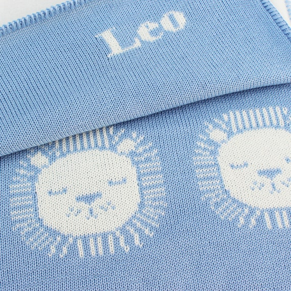 Lion Baby Blanket,Personalized Baby Blue Blanket,Baby Girl Blanket,Personalized Baby Boy Blanket,Personalized Blanket Monogrammed Blanket