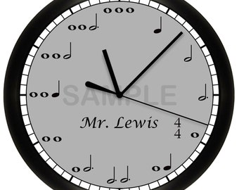 Music Notes Wall Clock Personalized