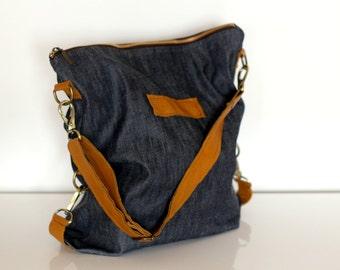 Shoulder bag , hobo bags, slouchy bag , canvas tote bag, denim bag , denim and leather bag, gift for wife, gift for her - Christmas gift