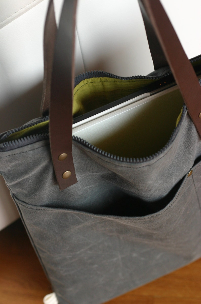 539a7b35117b Waxed canvas bag waxed cotton tote tote with leather