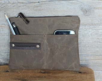 Waxed canvas zipper pouch, personalized gift , makeup bag, waxed canvas bag purse,  gift for boyfriend,  wallet,  passport cover