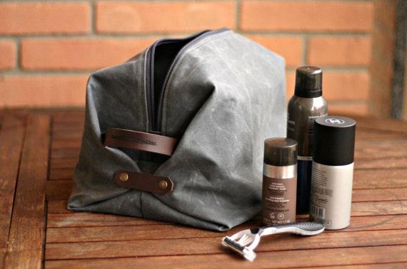 f9c0aab87035 Waxed canvas dopp kit, mens toilety bag, travel case, gift for boyfriend,  gift for husband, man's bag