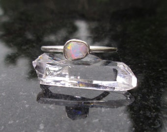 Raw Opal Ring, Size 7, Raw Stone Crystal Ring, 925 Sterling Silver, Dainty Stacking Ring,  Small Stone,White Natural Ethiopian Opal Gemstone