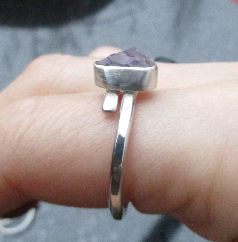 2987206b8b688 Raw Amethyst Ring, Size 8, Sterling Silver , Bypass Ring, Raw Stone,Boho  Crystal Jewelry,Purple Rough Stone, February Birthstone, Adjustable
