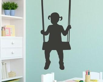 Girl on a Swing - Vinyl Wall Decal - Wall Sticker