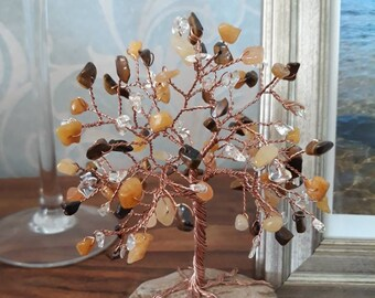 Tiger's Eye, Yellow Jade and Citrine Copper Tree