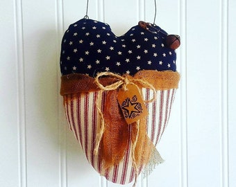 Patriotic heart | Americana Primitive hearts | 4th of july | Farmhouse decor | decorations | Red White Blue fabric  | Ships Now