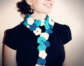 PDF PATTERN Crochet Flower Scarf Pattern - CAN Sell Finished Items - Instant Download