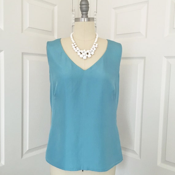 JIL SANDER aqua blue silk blouse sleeveless shell