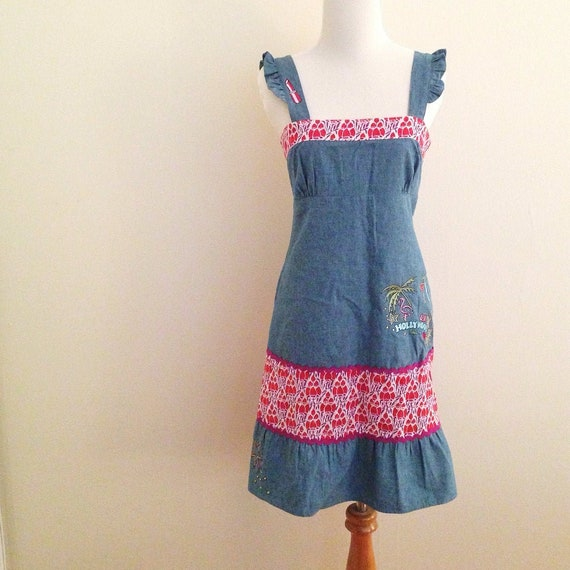 LAURA Embroidered Chambray Girly Sundress Small