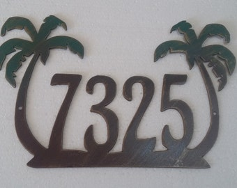 Palm Tree House Number Address Sign , Wall decor, Metal Art
