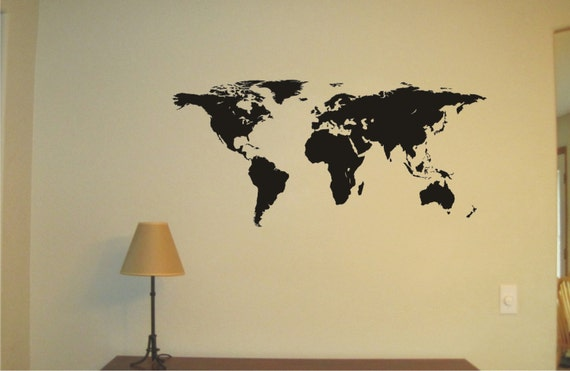 Large world map vinyl decal wall sticker wall tattoo etsy image 0 gumiabroncs Choice Image