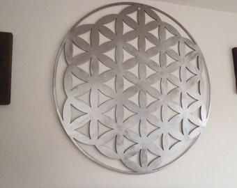 Flower Of Life,Brushed Steel, Metal Wall decor, Metal Art