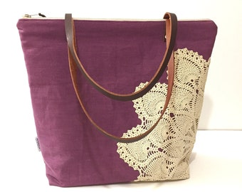 Linen Tote Bag with Vintage Doily