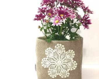 Linen Burlap Basket Vintage Doily Medium - Rustic Storage Bin - Burlap Bucket - Burlap Wedding Decor