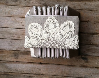 Bridesmaid Gift Set - Linen Burlap Clutch Vintage Doily