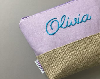 Hand Embroidered Cosmetic Pouch - Personalized Bridesmaids Gift