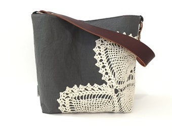 Grey Linen Hobo Bag with Vintage Doily