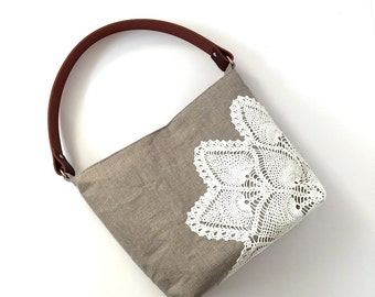 Natural Linen Hobo Bag with Vintage Doily