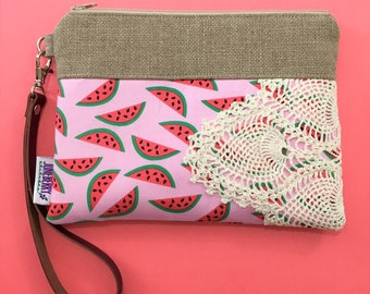Ready to Ship - Watermelon Wristlet Vintage Lace