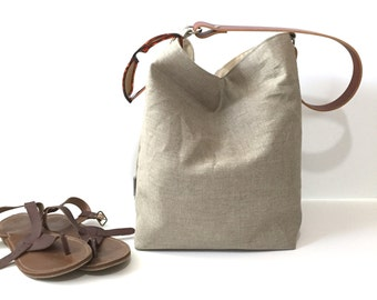 Large Natural Linen Hobo Bag - Bucket Bag