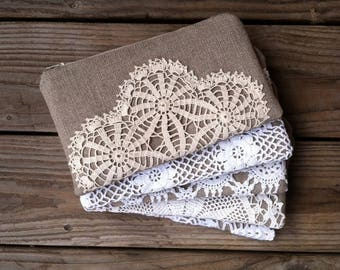 Bridesmaid Clutch Set - Linen Burlap Clutch - Rustic Wedding