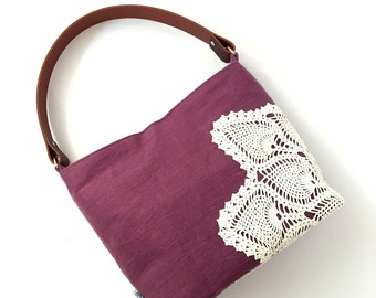Plum Linen Hobo Bag with Vintage Doily