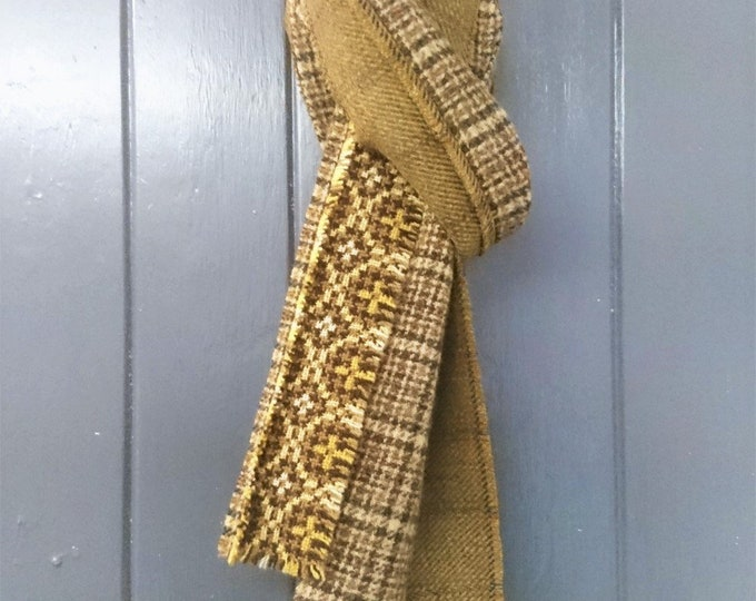 Men's mustard yellow and olive green Scottish tweed, English and Welsh wool narrow patchwork scarf, men's narrow patchwork winter scarf
