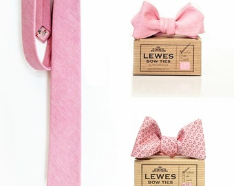 Groom and groomsmen wedding set of pink chambray neck tie and two pink chambray self tie bow ties