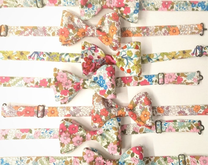 BUY 6 GET 1 FREE self tie or pre-tied floral mismatched bow ties for groom and groomsmen including free domestic shipping