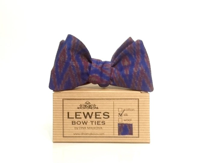 Silk ikat self tie bow tie in beautiful blue shades
