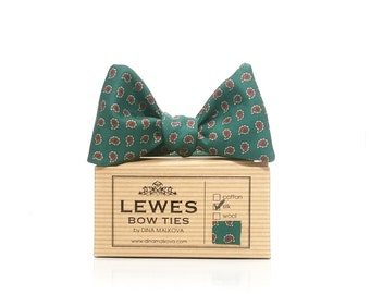 English classic green and burgundy mini paisley silk self tie bow tie made from vintage silk fabric