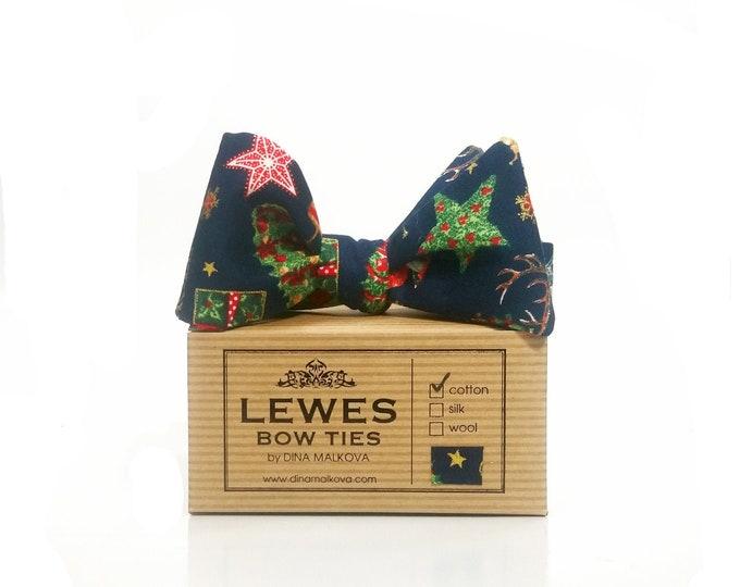 Christmas stars self tie bow tie on navy blue cotton