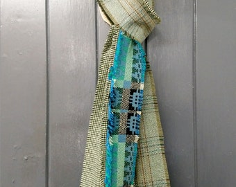 Men's green and blue Scottish tweed, English and Welsh wool narrow patchwork scarf, men's narrow patchwork winter scarf