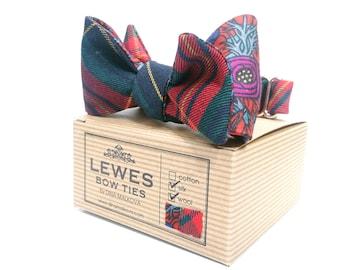 Tartan finest wool and vintage floral silk 2 in 1 self tie bow tie