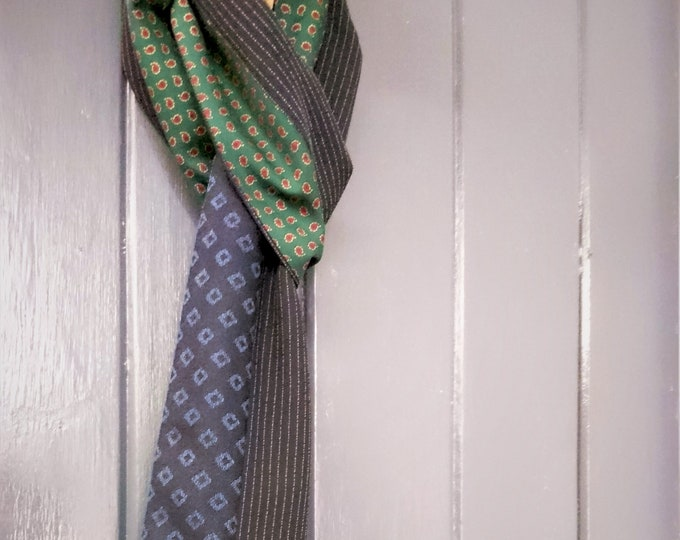 Men's blue and green narrow patchwork scarf made from vintage wool and silk fabric